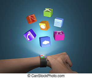 hand touch ultra-thin smart watch with apps and blue...