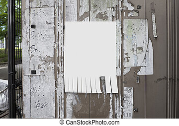 empty paper posted on bulletin board with street