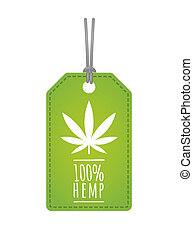 Label with a hemp leaf - Illustration of an isolated label...
