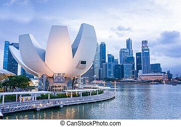 Marina Bay, Singapore - Singapore Skyline and night...