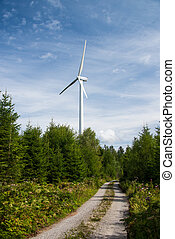 wind power plant in the forest - wind power plant in...
