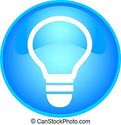skyblue bulb button - illustration of a skyblue bulb button