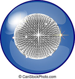button with disco ball - illustration of a button with disco...