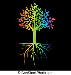 Tree with root rainbow ilustration