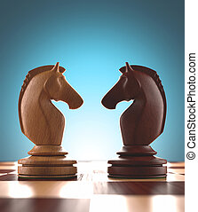 Face To Face - Dispute face to face in chess. Clipping path...