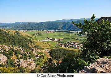 View of Danube valley and Durnstein town from the hill