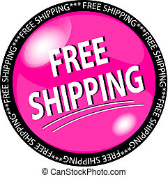 pink free shipping button - illustration of a pink free...