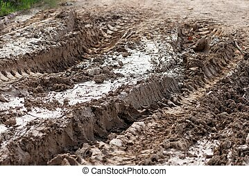 Closeup of car ruts in dry road mud