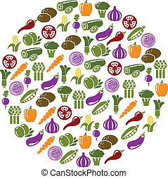 vegetable icons in circle