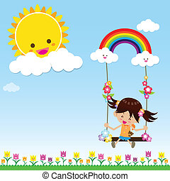 Smile girl playing the swing under a sun and rainbow with...