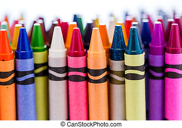 Crayons - Multicolored crayons on a white background.