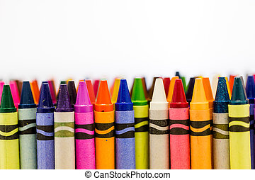 Crayons - Multicolored crayons on a white background