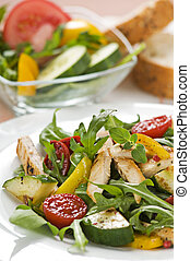 poulet, salade