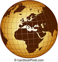 globe europe and africa - illustration of a globe europe and...