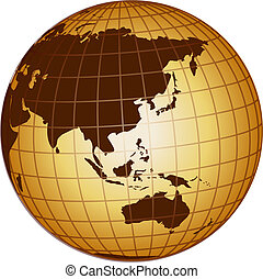 globe australia and asia - illustration of a globe australia...
