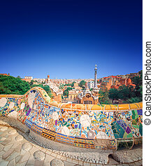 Park Guell in Barcelona, Spain - The famous park Guell in...