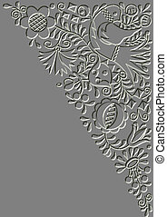Metal relief Moravian folk ornament background