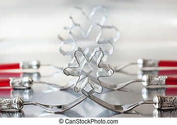 Christmas place setting with snowflake cookie cutter