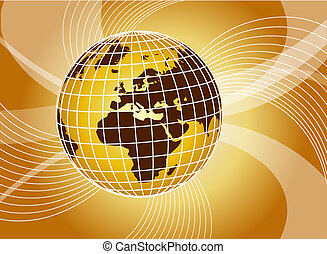 abstract yellow background with swirls and globe -...