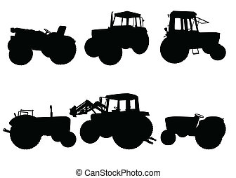 Set of tractor silhouettes