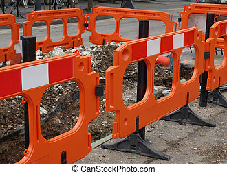 Street barrier - Street traffic barrier for temporary...