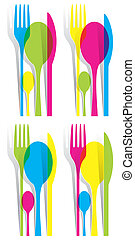 Multicolored Cutlery Icons Set - Creative Multicolored...