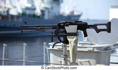 Machine gun kalashnikov - machine gun on the side of a Navy...