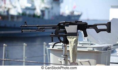 Machine gun kalashnikov - machine gun on the side of a Navy...