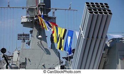 naval flags on a warship - military naval flags on a warship...