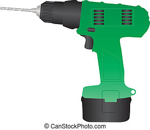 Battery Drill - A Green Rechargeable Battery Drill isolated...