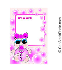 Birth Card - Baby Girl - New birth card for a little baby...