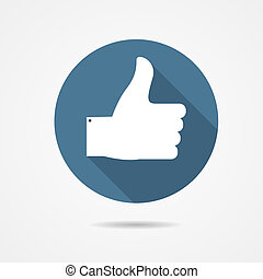 Vector Illustration of Blue Thumb Up Icon with Long Shadow...