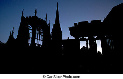 Coventry Cathedral - Silhouette of the remains of Coventry...