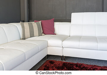 Couch with white upholstery and pillows - Couch with white...