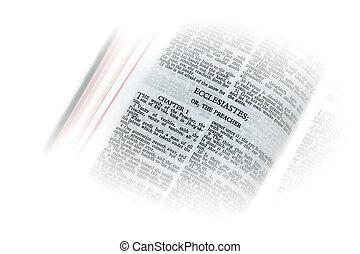 bible open to ecclesiastes the preacher vignette