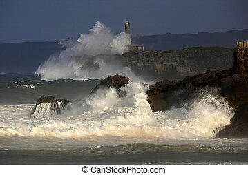 Raging waves on the Cantabrian Sea coast - Raging waves...
