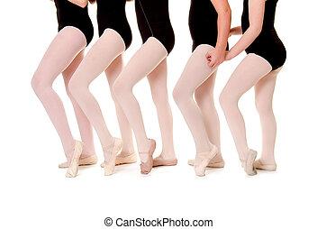 Ballet Student Legs in Unison - Five Preteen Ballet Student...