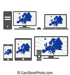 Electronic with the map of Europe