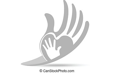 Hands protective love concept logo - Hands protective...