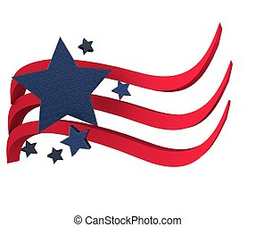 American flag 3D with stars icon background