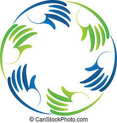 Hands teamwork business logo