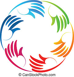 Stylized hands teamwork logo - Stylized colorful hands...