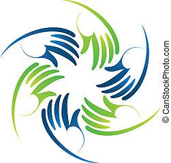 Stylized hands teamwork logo