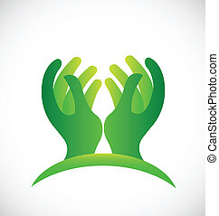 Green hopeful hands logo - Green hopeful hands icon vector...