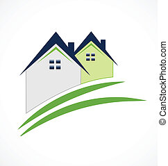 Real Estate House logo - Real Estate House and swoosh road...