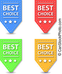 Set of Flat Best Choice Labels. Vector