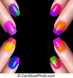 Multi-colored Nail Polish isolated on black - Nail Polish....