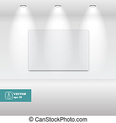 Empty White frame in art gallery. Vector