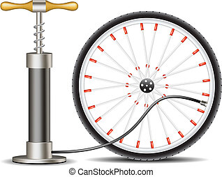 Air pump with bicycle wheel on white background