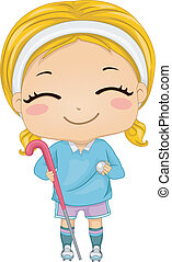 Field Hockey Girl - Illustration of a Girl Dressed in Field...
